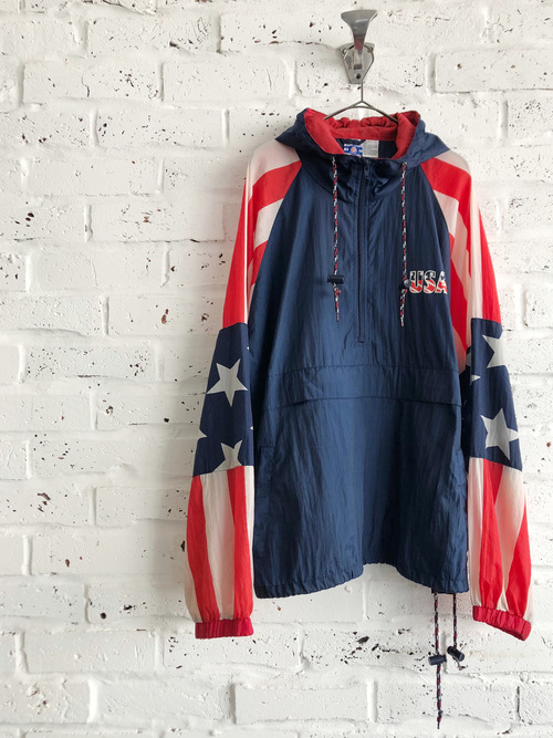 "Vintage 80's-90's United States of America ""stars and stripes"" design anorak jacket"