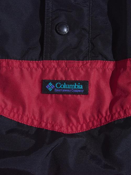 "1990s ""Columbia"" pullover nylon shell jacket -BLACK/PURPLE-"