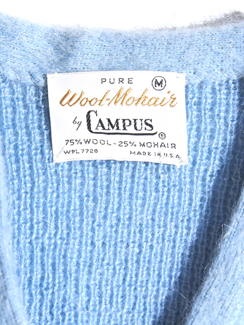 "1960s ""CAMPUS"" mohair knit pullover -SAX BLUE-"