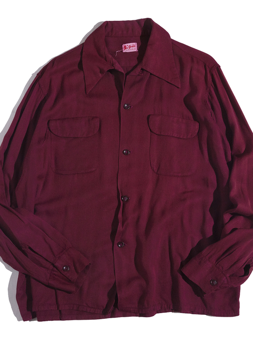 "1940s ""New yorker"" rayon shirt -BURGANDY-"