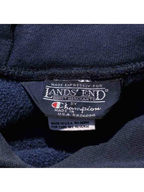90's LANDS' END×CHAMPION USA製 リバースウィーブパーカー [L]