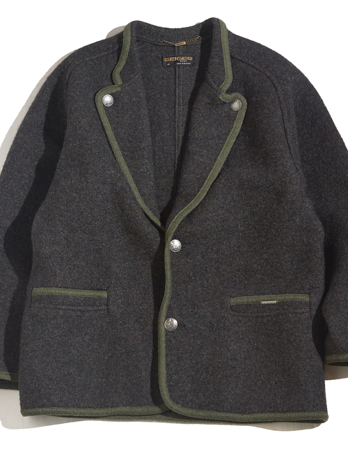 "1970s ""GEIGER"" wool tyrolean jacket -CHARCOAL-"