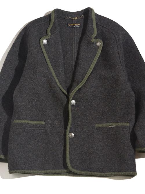"1970s ""GEIGER"" wool tyrolean jacket -CHARCOAL- <SALE¥16000→¥12800>"