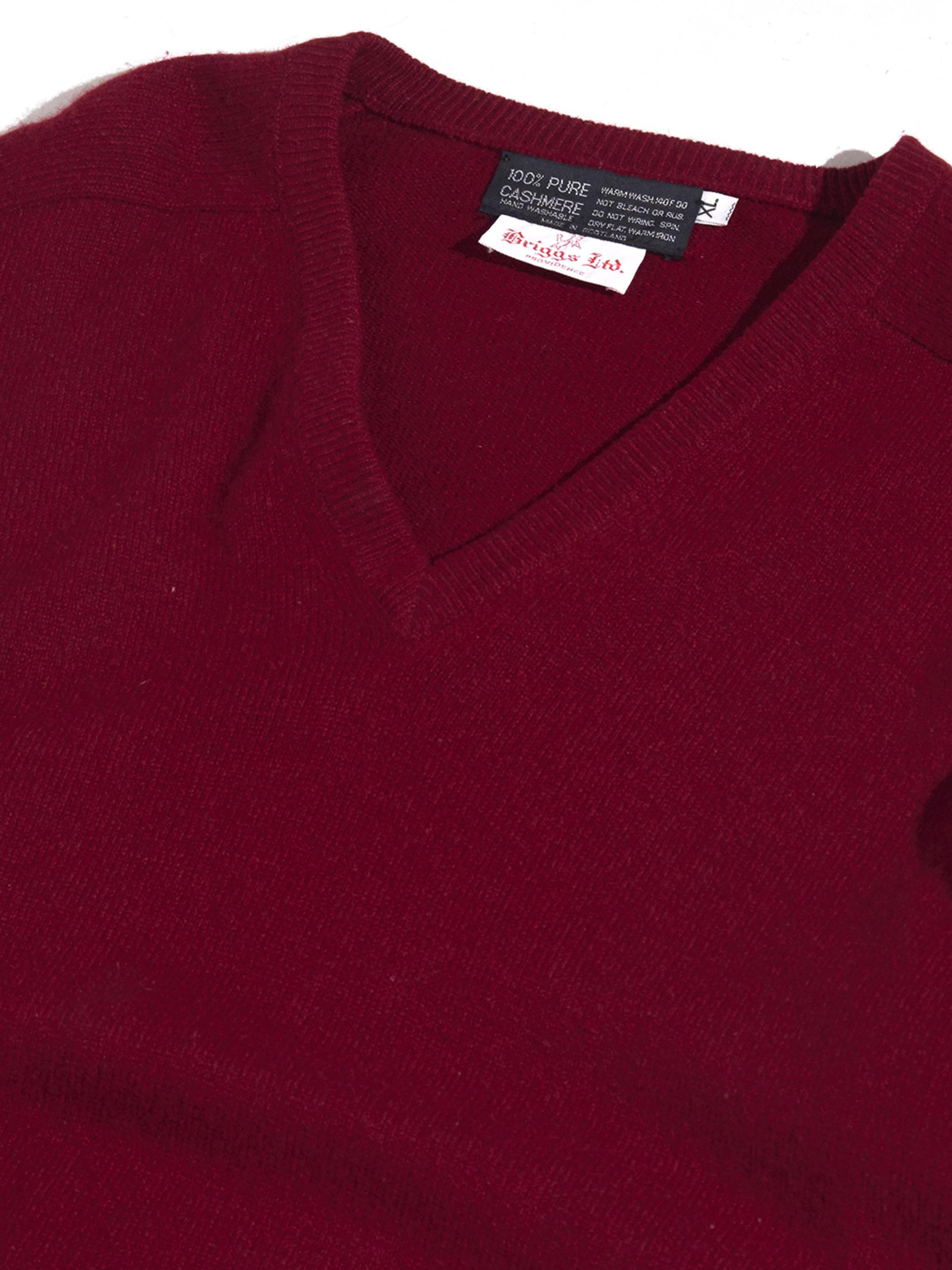 "1960s ""Briggs Ltd."" v-neck cashmere knit -MARRON-"