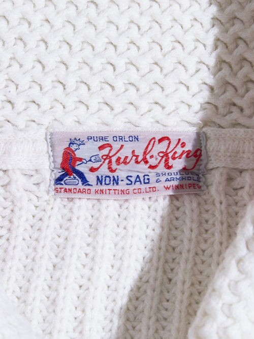 "1960s ""Kurl King"" shawl collar knit -WHITE-"
