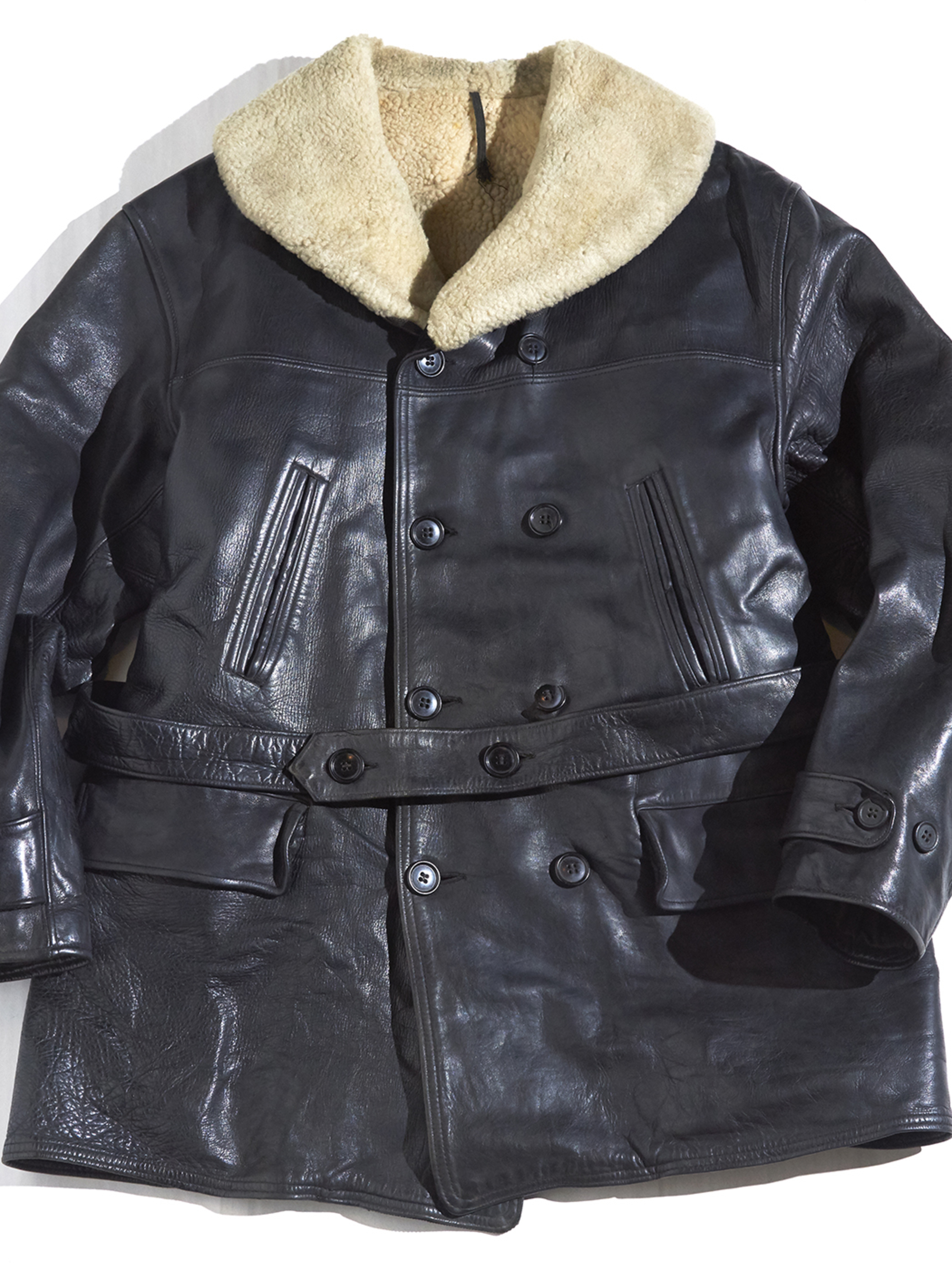 "1930s ""unknown"" horse hide car coat -BLACK-"