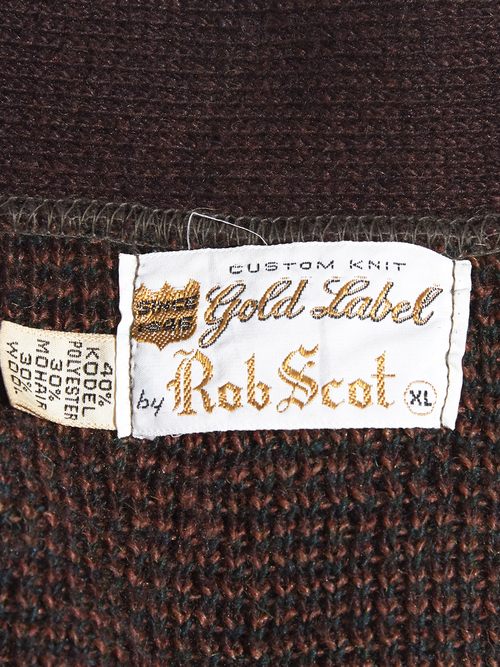 "1960s ""Rob Scot"" mohair knit cardigan -BROWN-"