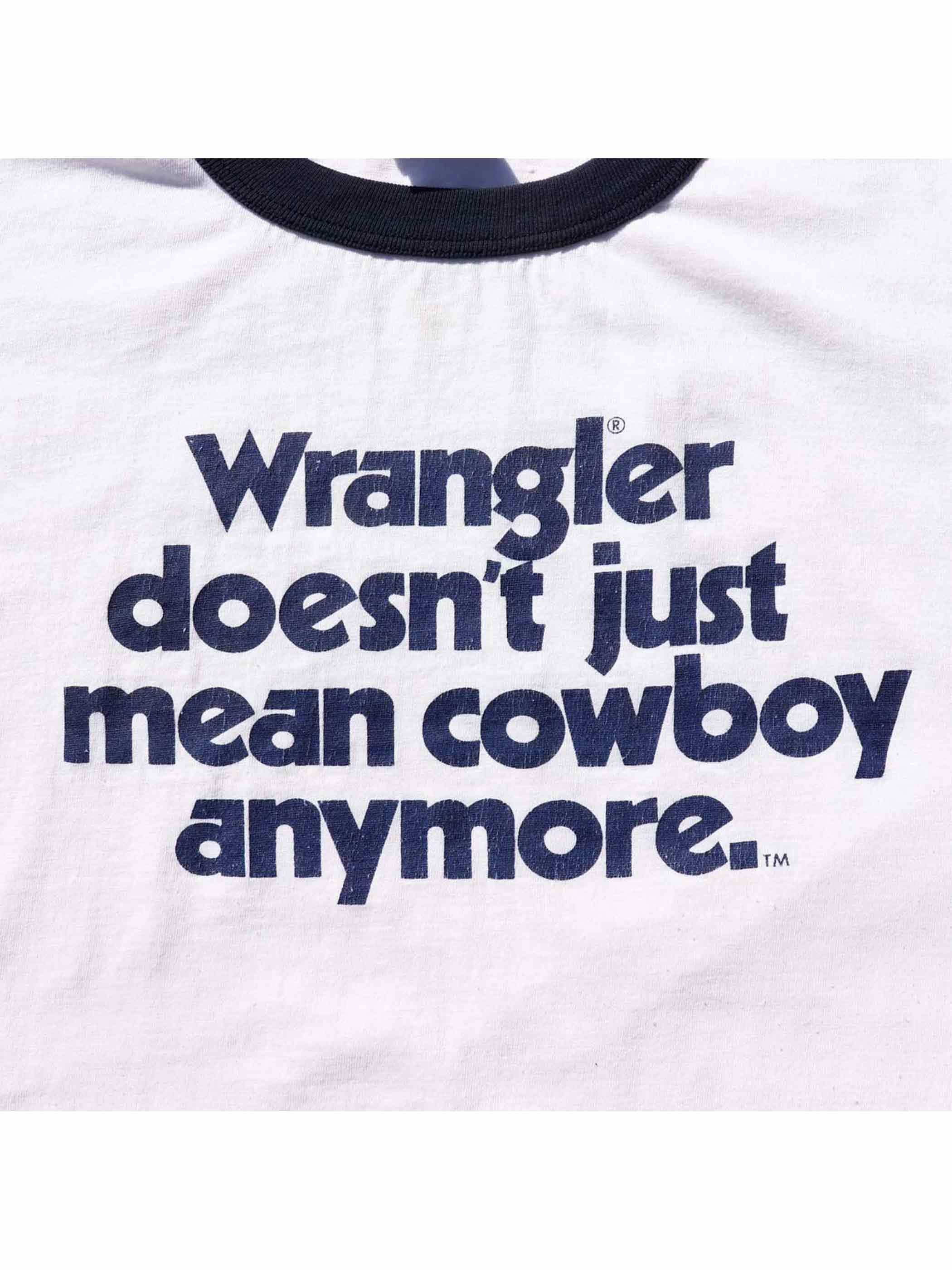 90's WRANGLER DOESN'T JUST MEAN COWBOY ANYMORE USA製 リンガーTシャツ [XL]