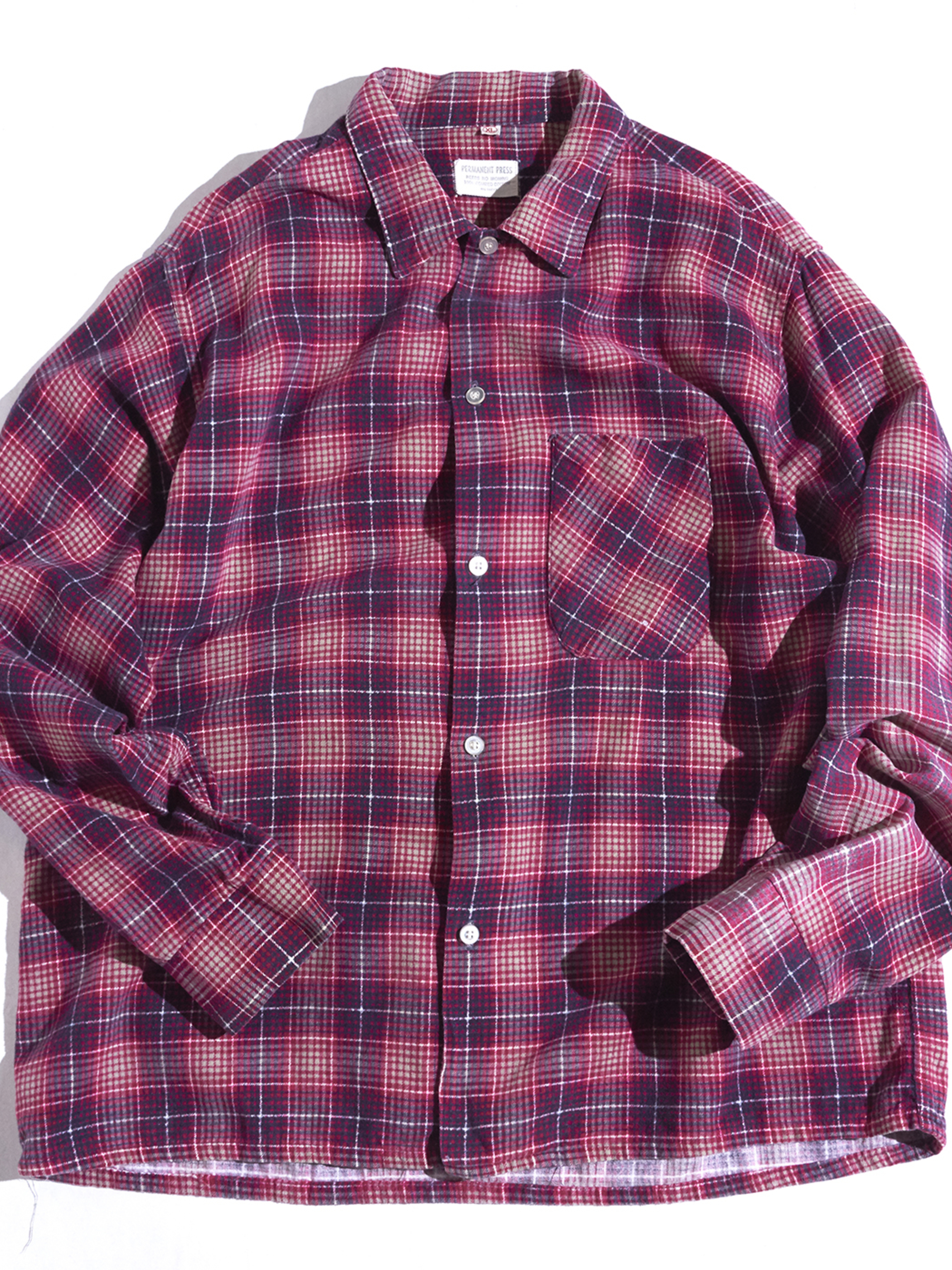 """1960s """"unknown"""" cotton print flannel shirt -RED-"""