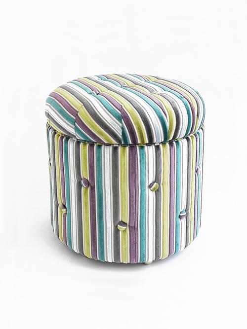 Box+stool+velvet+multi+stripe
