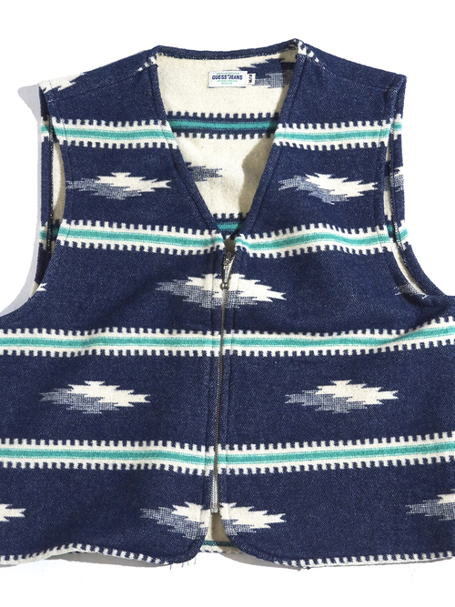 "1990s ""GUES JEANS"" native pattern vest -NAVY-"