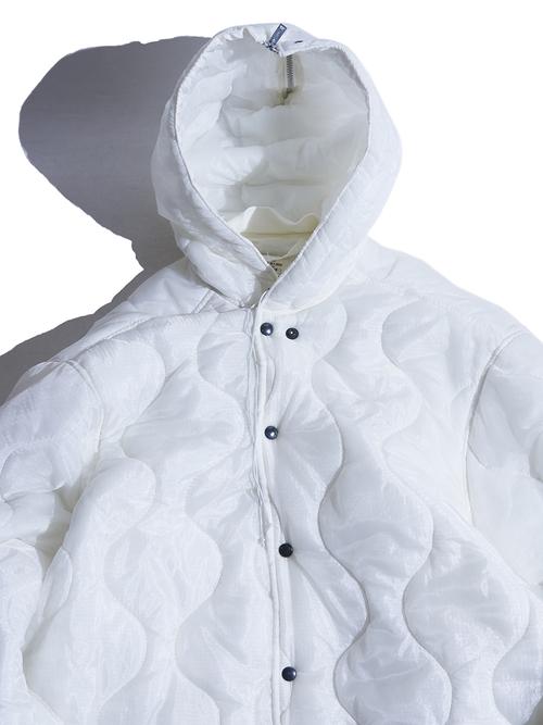 "1980y ""US ARMY"" inspectors smock liner coat -WHITE-"