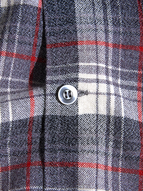 "1960s ""unknown2 wool/acrylic check shirt -GREY-"