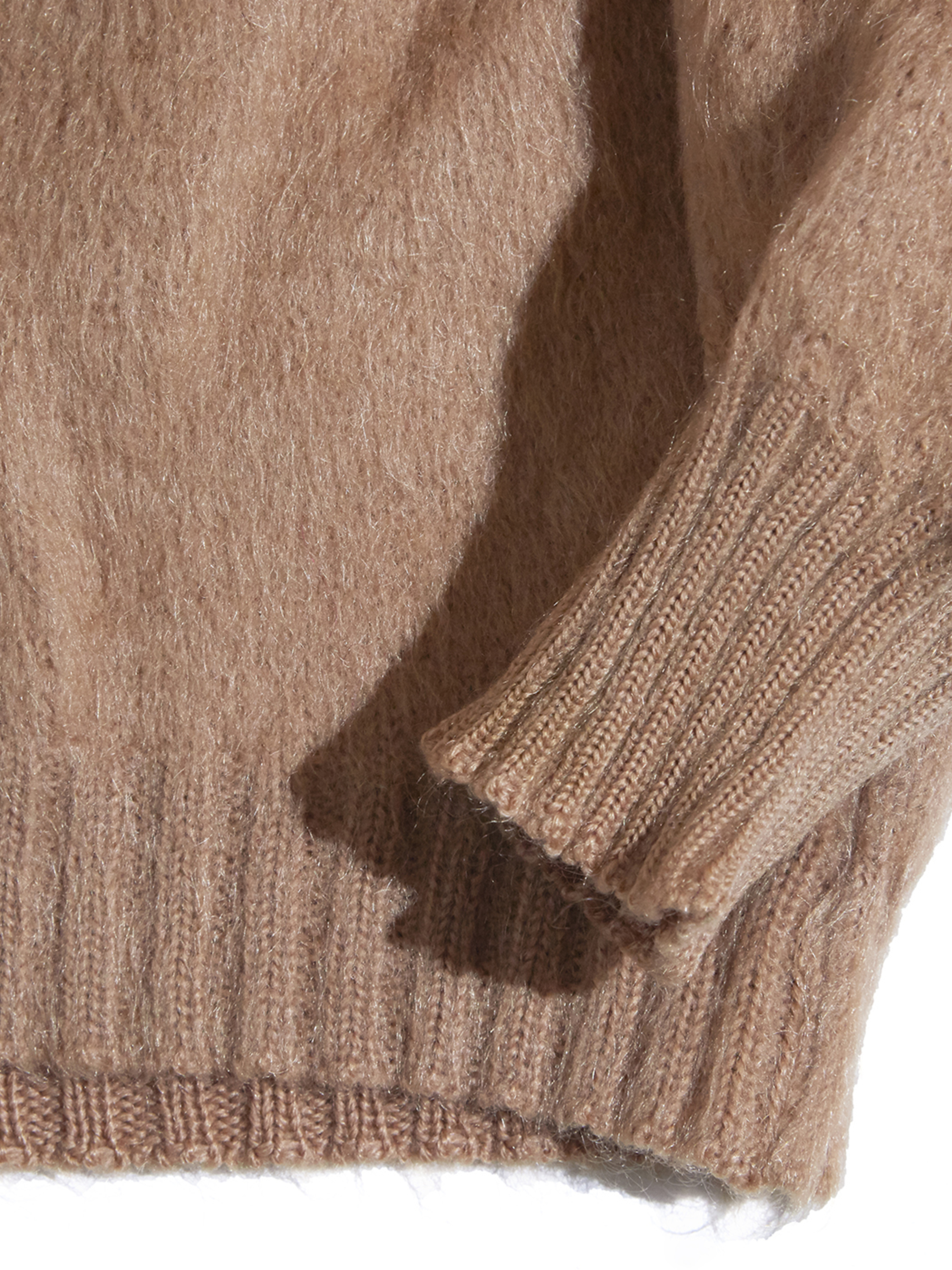 "1960s ""MARSHALL FIELD & COMPANY"" mohair v-neck knit -BEIGE-"