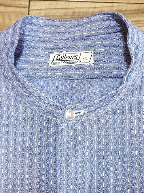 EURO Vtg / Band collar pull over grandpa shirt