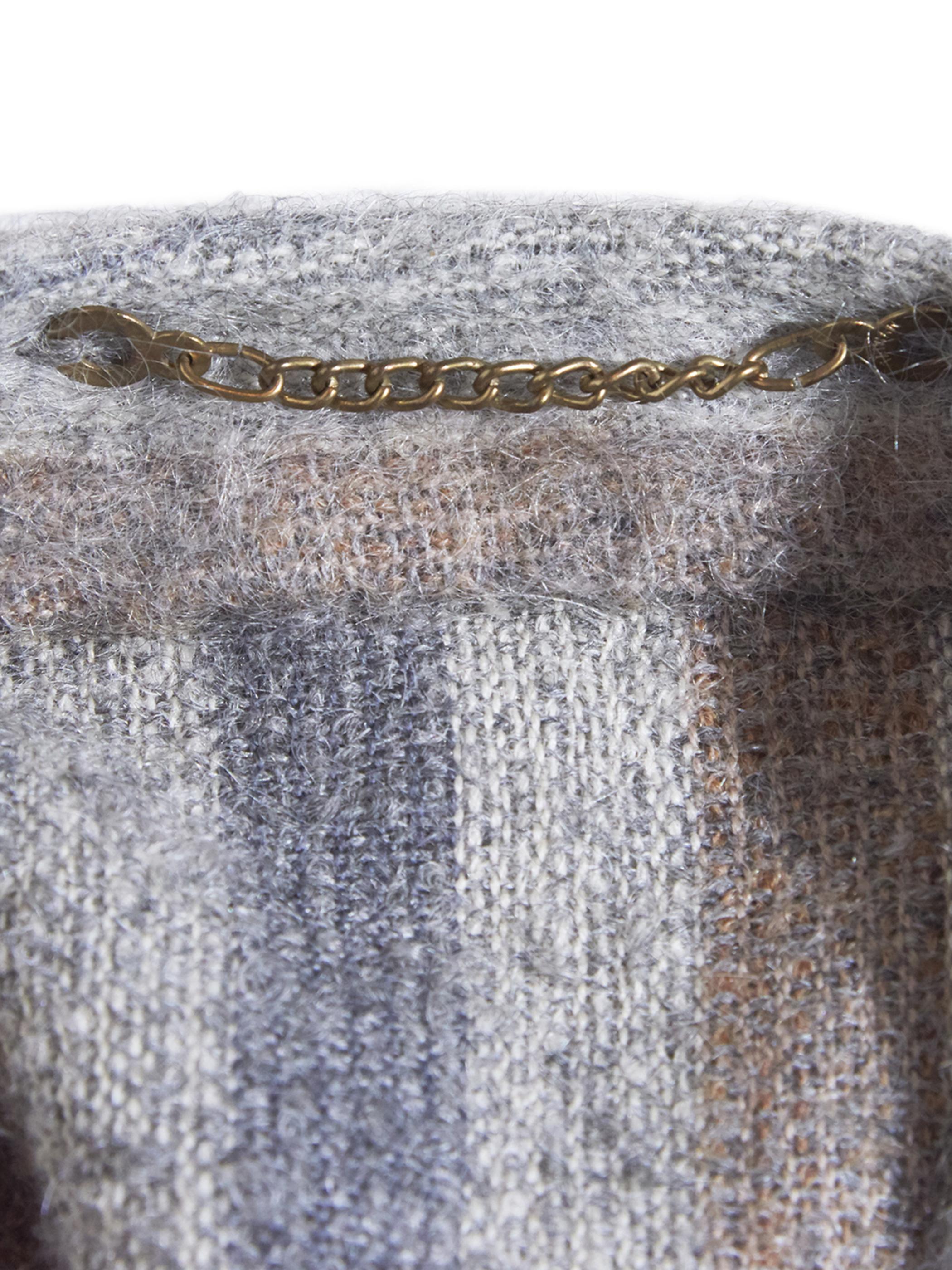 """1980s """"unknown"""" wool stripe cape coat -GREY-"""
