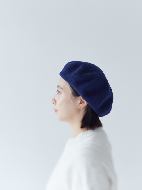 WOOL KNIT BIG BERET/ブルー