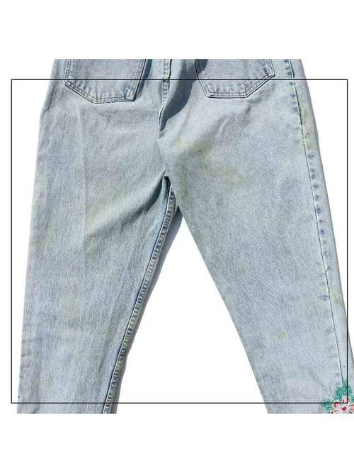 90's GUESS Custom Hand Embroidered Side Zip Hem Denim Pants [W32]