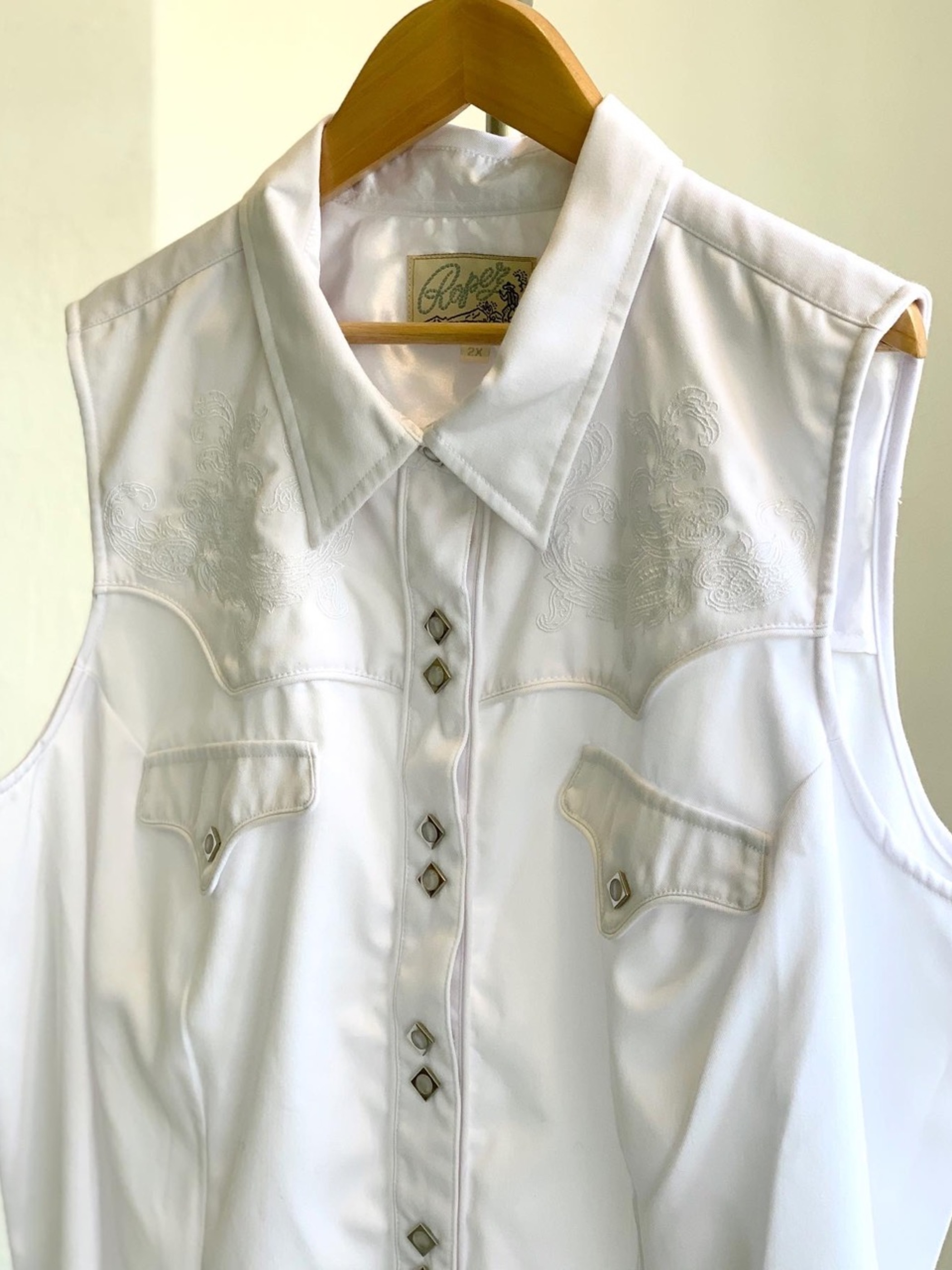 Lady's Dead stock over size white embroidered western vest