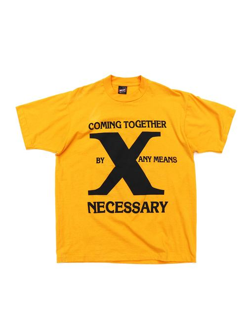 "90's MALCOLM X ""BY ANY MEANS NECESSARY"" プリントTシャツ [L]"