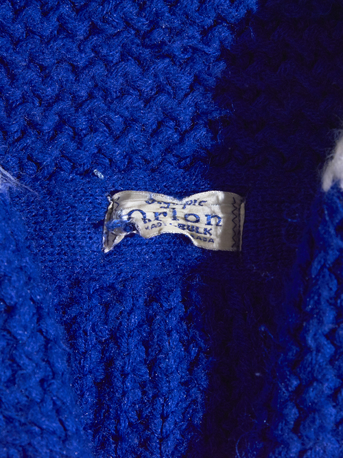 "1960s ""unknown"" shawl collar knit -BLUE-"