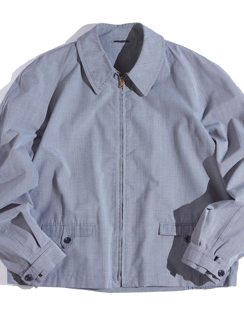 """1960s """"unknown"""" hound tooth pattern drizzler jacket -GREY-"""