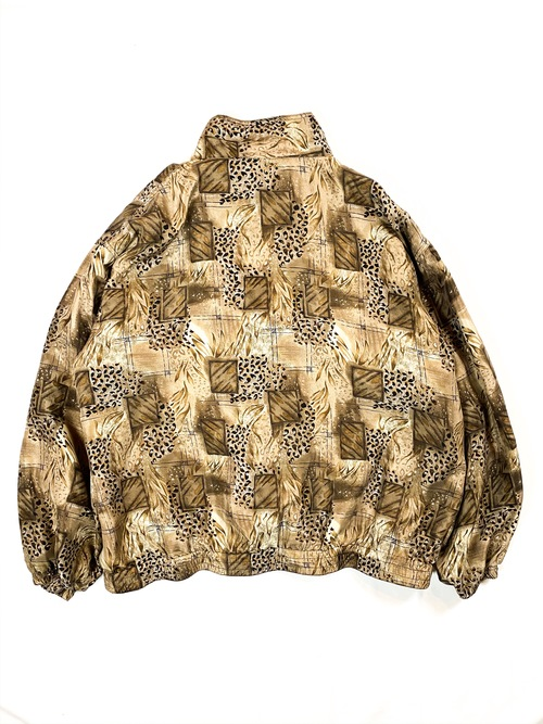 graphic patterned silk blouson
