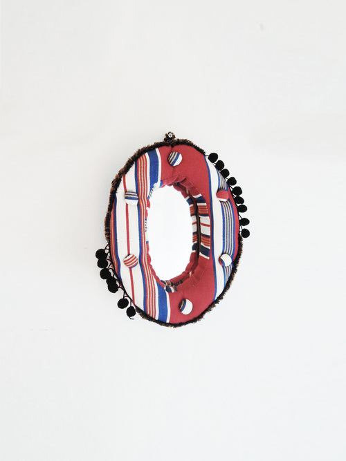 Wall mirror oval s red navy stripe