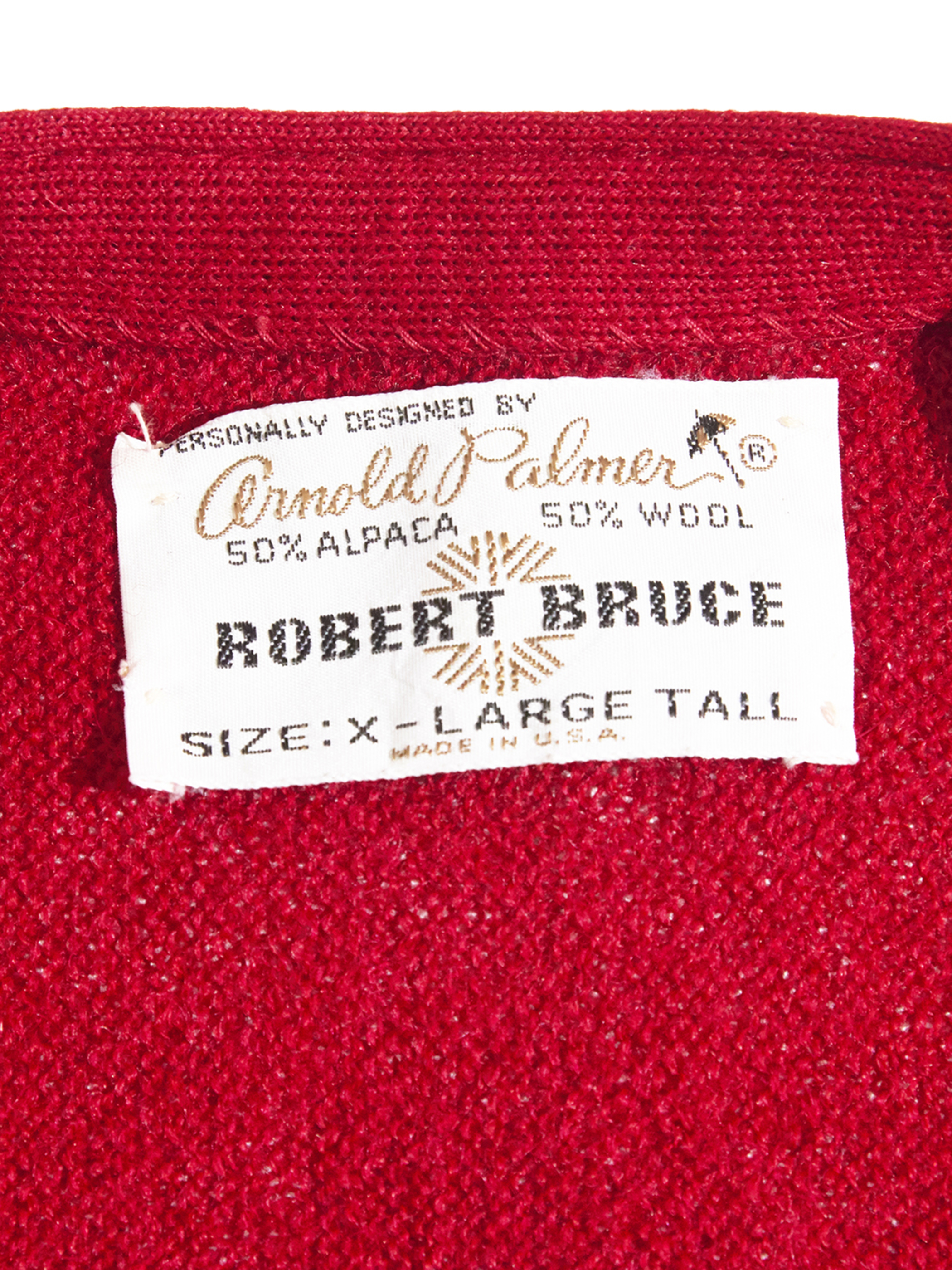 "1960s ""ROBERT BRUCE"" wool/alpaca knit cardigan -RED-"