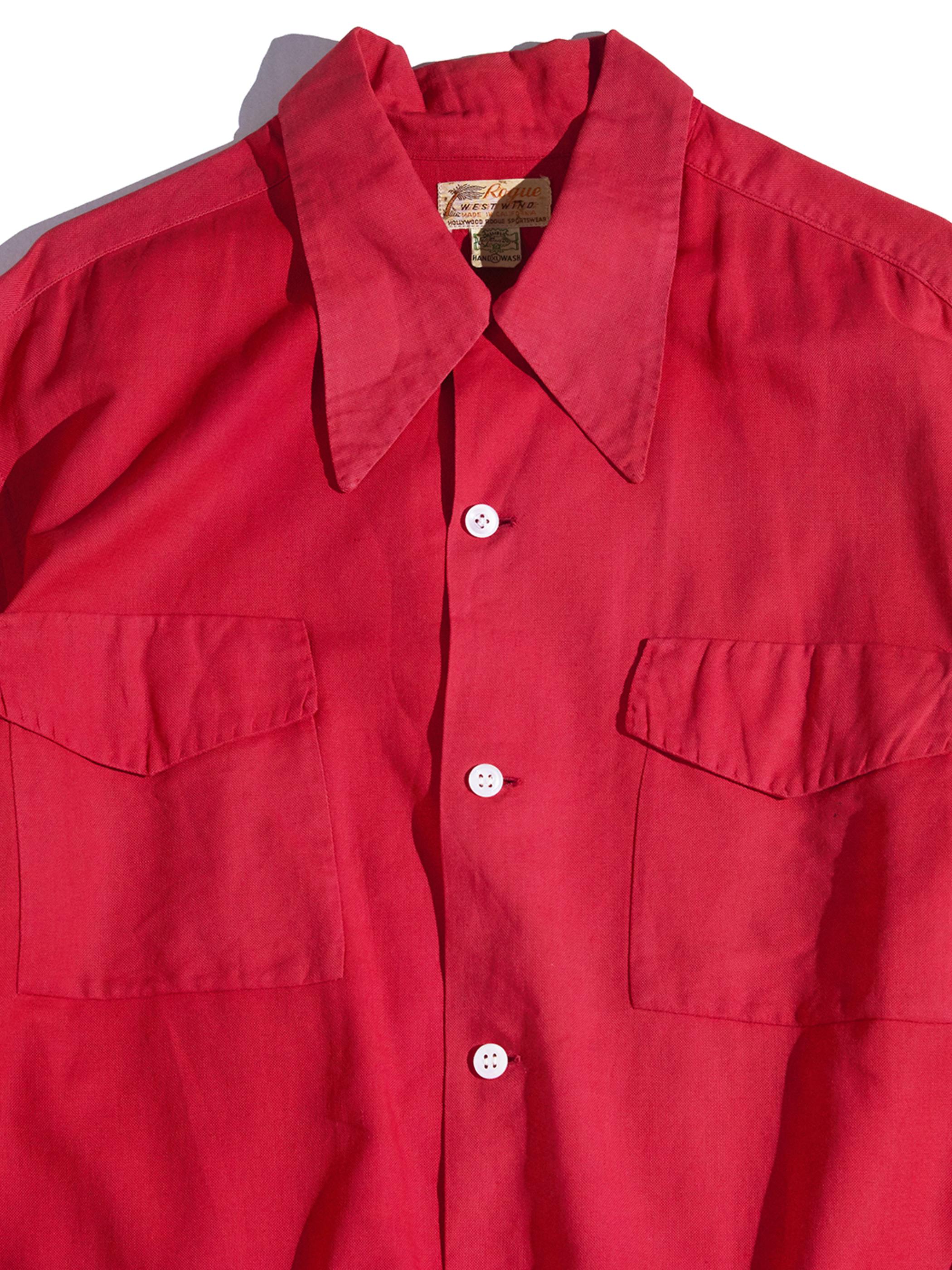 "1940s ""Rogue"" cotton box shirt -RED-"