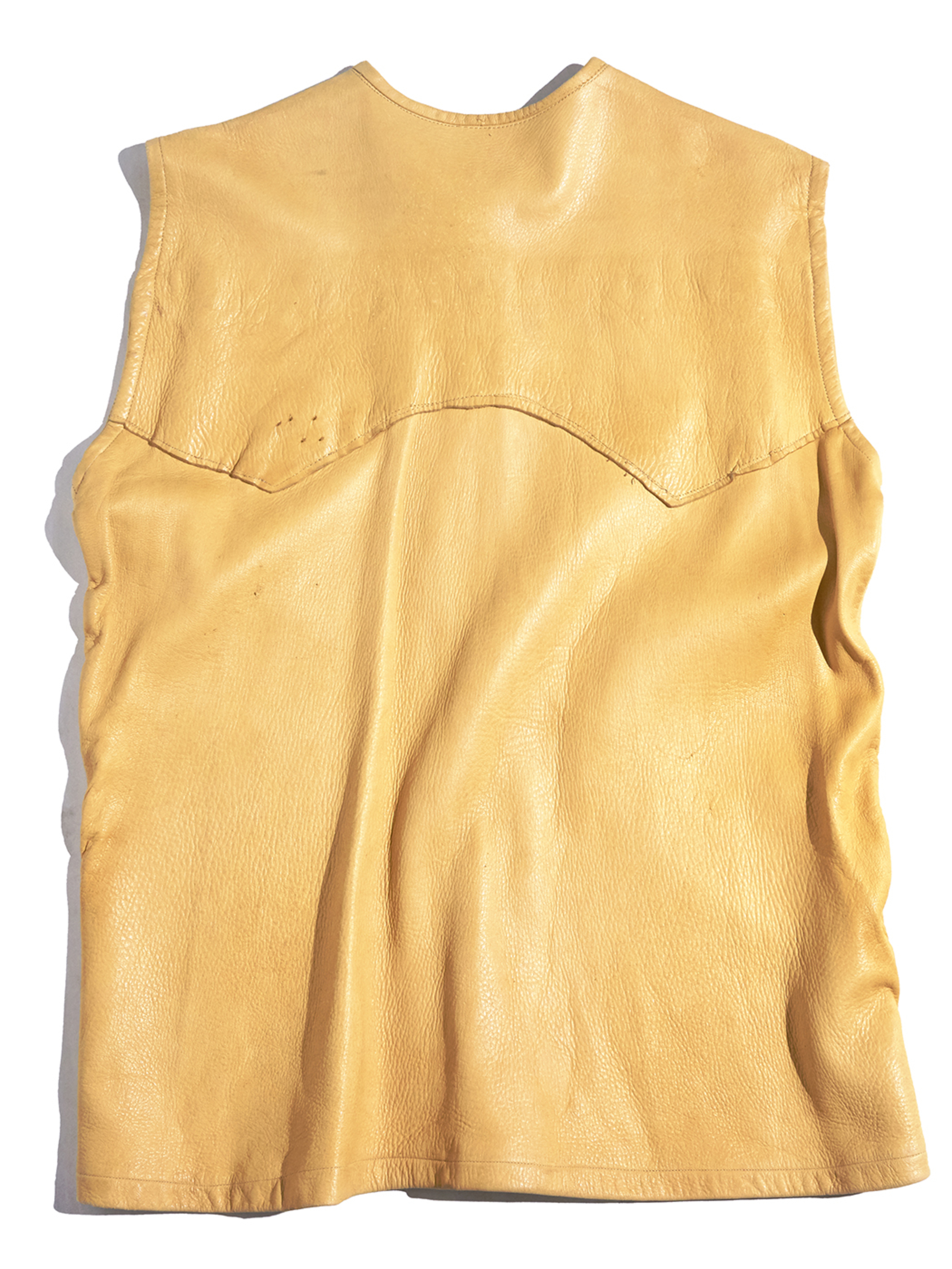 "1960s ""unknown"" deer skin western vest -BEIGE-"