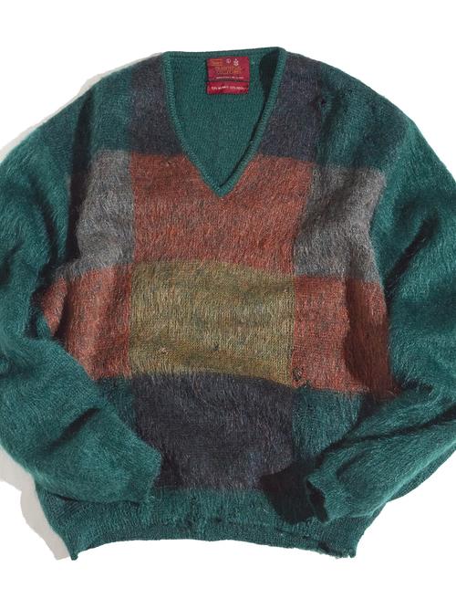 "1960s ""SEARS"" boro mohair knit sweater -GREEN-"