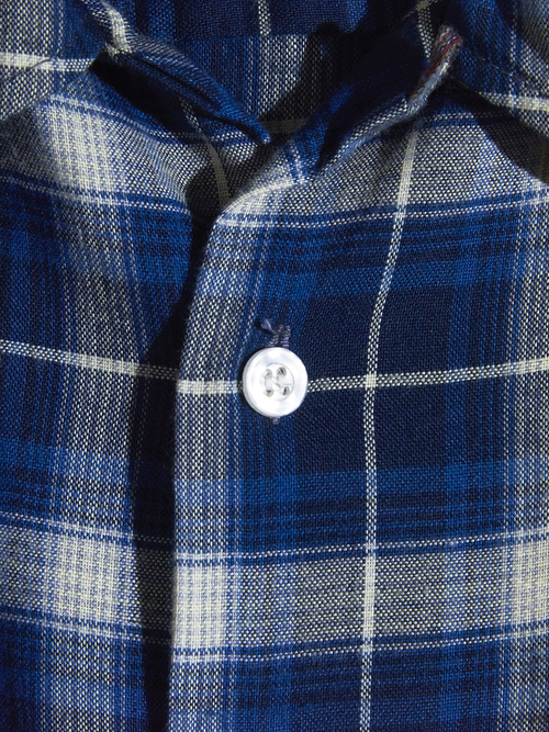 "1970s ""J.C.Penny"" rayon check shirt -BLUE-"