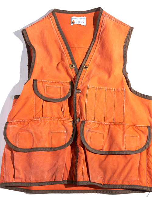 "1970s ""Forestry Suppliers"" huntting vest -ORANGE-"