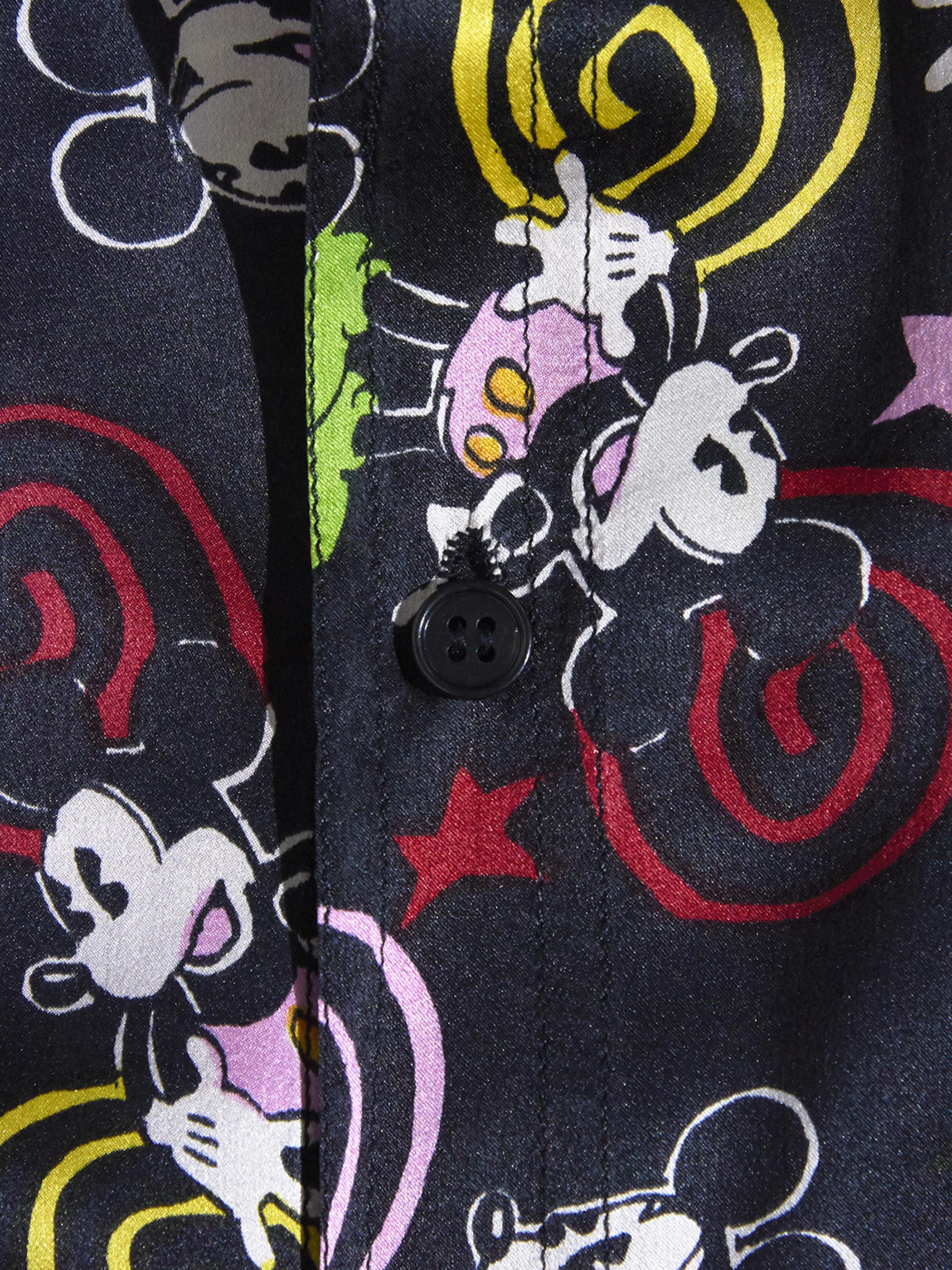 """1970s """"unknown"""" silk pattern shirt -BLACK-"""