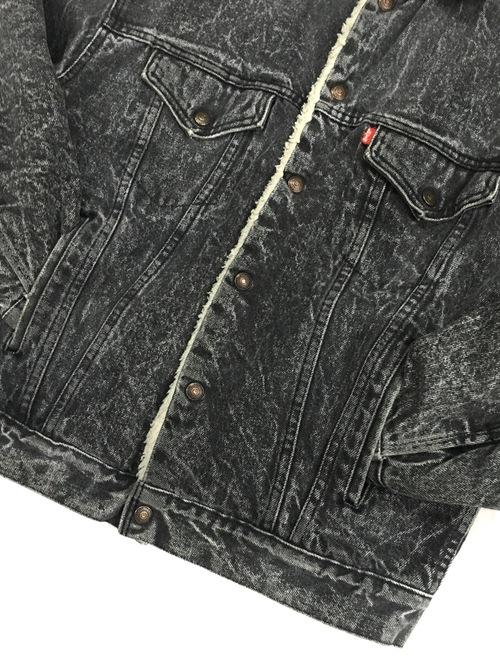 "80's Levi's chemical wash denim boa jacket ""BLACK"""