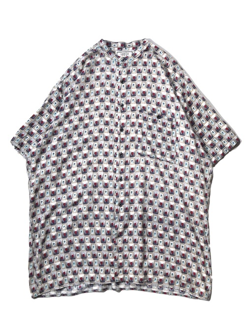 バンドカラー 半袖 総柄 シャツ / band collar half sleeve all pattern shirt