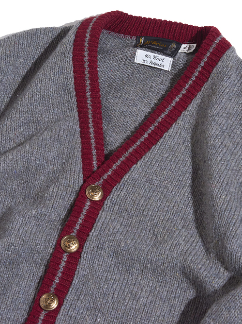 "1970s ""m'briar"" wool knit cardigan -GREY-"