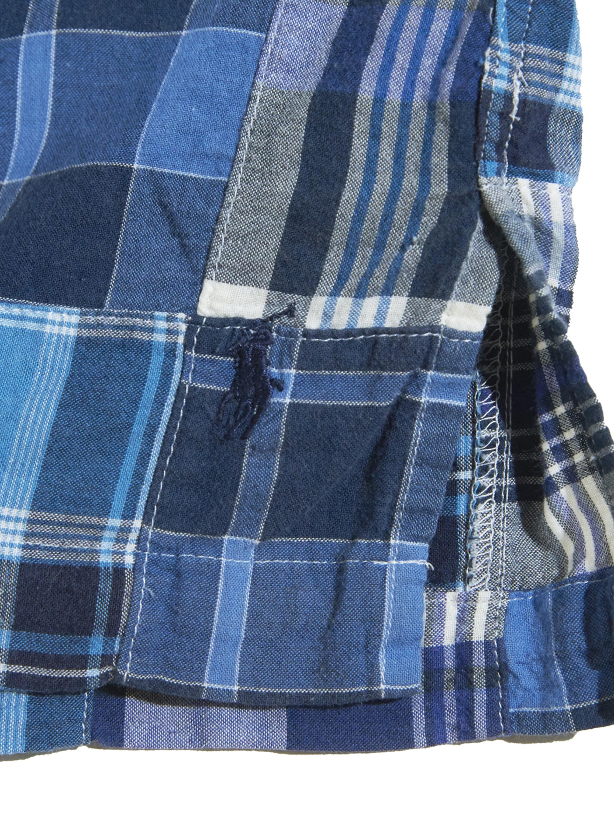 """1990s """"Ralph Lauren"""" BOB CAMP s/s B.D. patch work check shirt -BLUE-"""