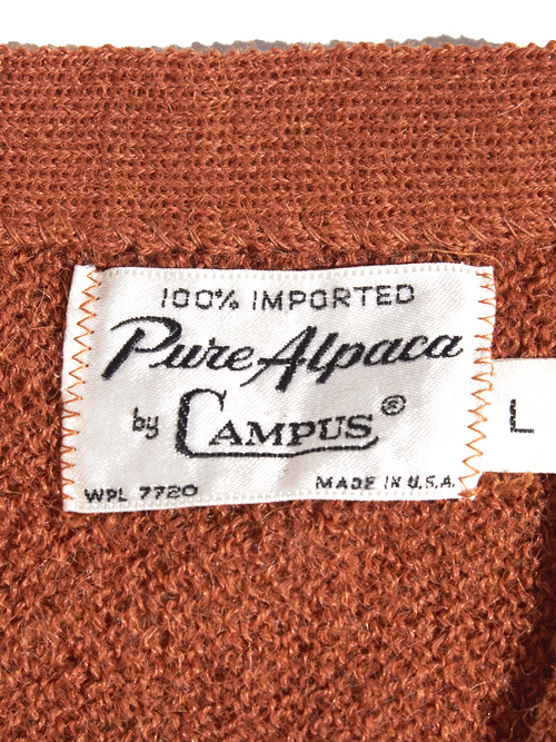 "1960s ""CAMPUS"" alpaca knit cardigan -ORANGE-"
