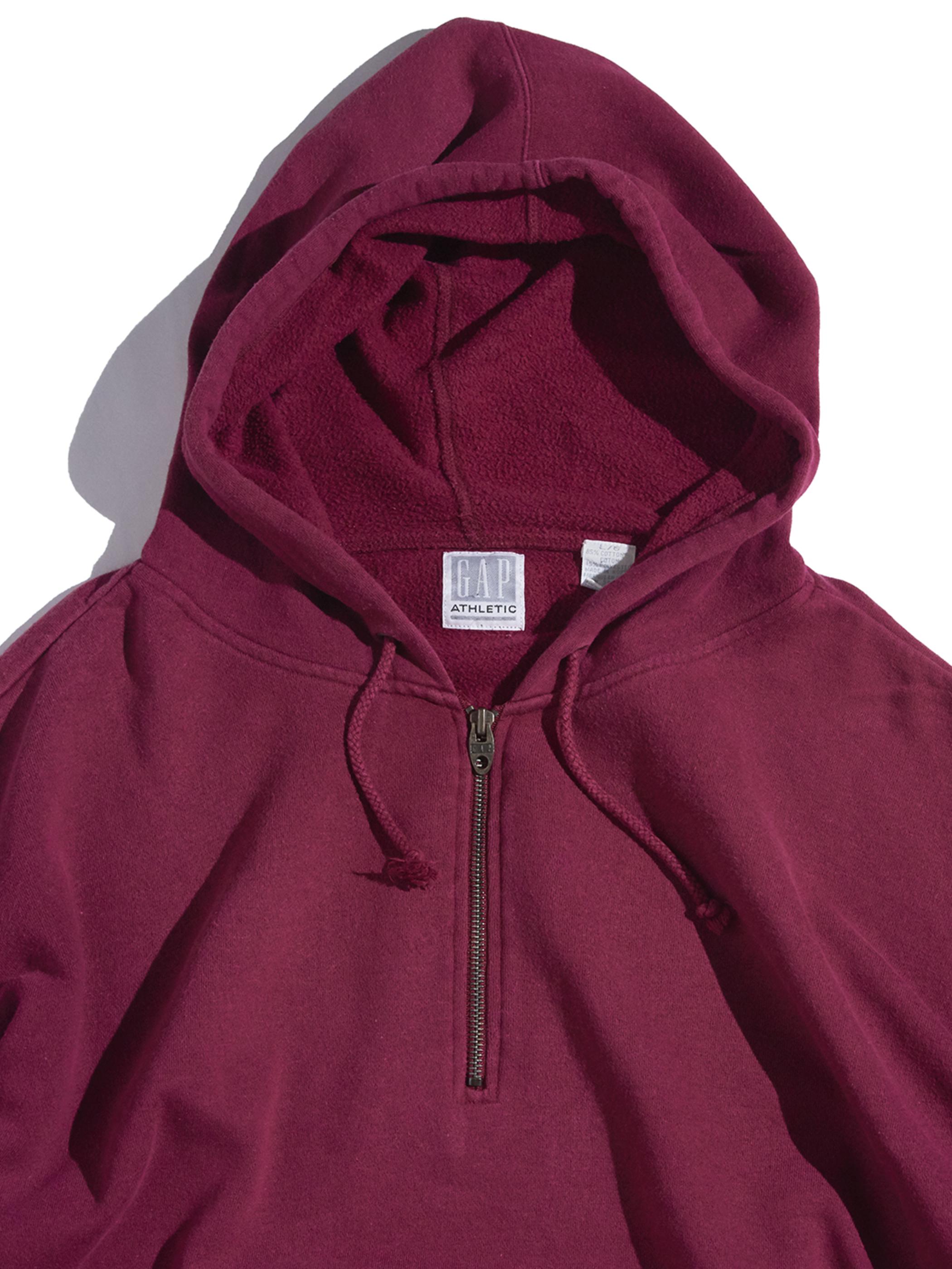 """1990s """"GAP"""" half zip sweat hoodie -BURGUNDY-"""