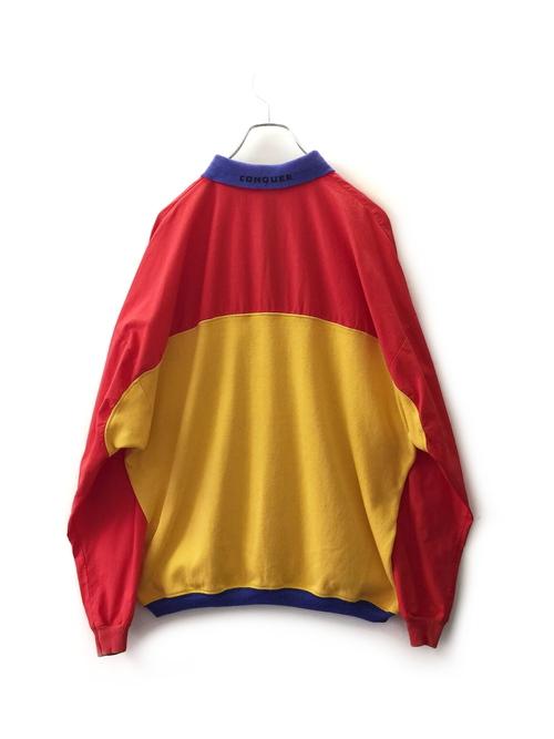 【SALE】JANTZEN SPORT ビッグシルエット 切替 ポロシャツ イエロー/レッド sizeXL アメリカ製