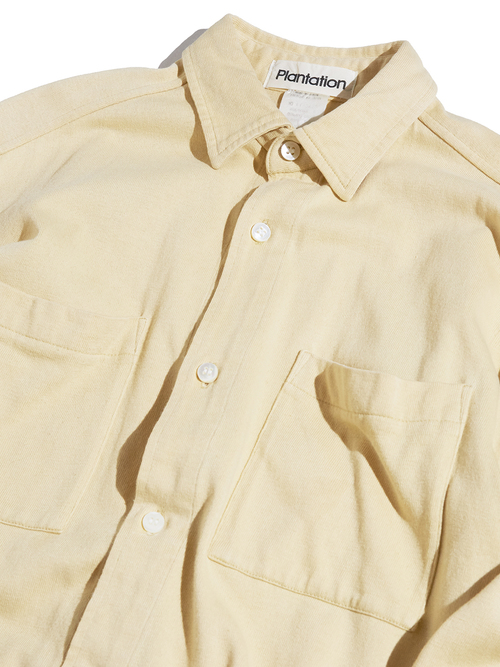 "1990s ""Plantation"" cotton knit shirt -CREAM YELLOW-"