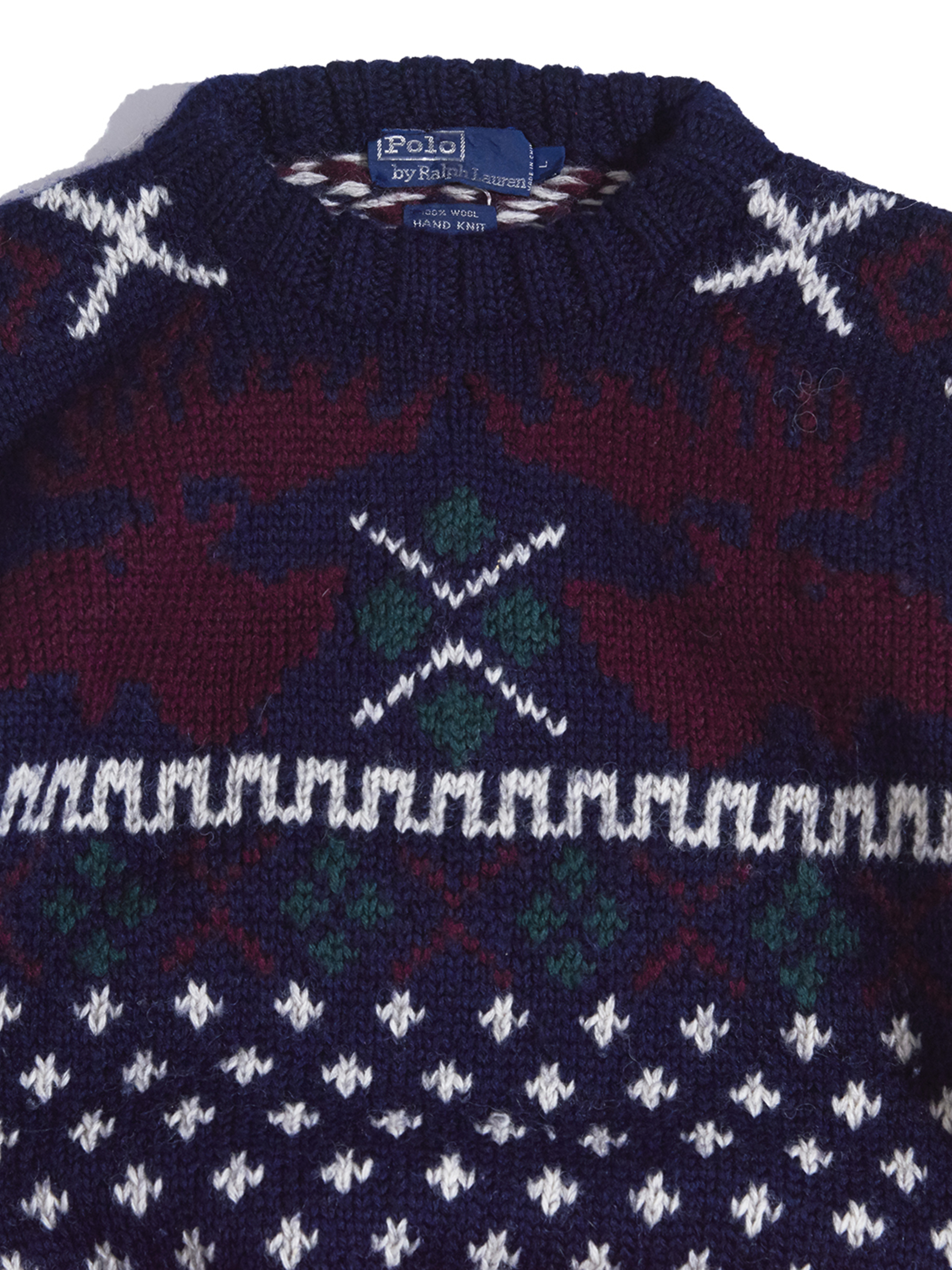 "1990s ""POLO by Ralph Lauren"" wool nordic pattern hand knit -NAVY-"