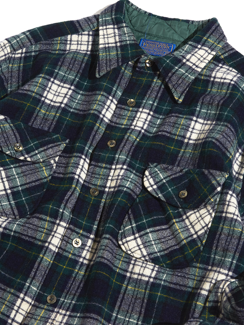 "1970s ""PENDLETON"" wool check shirt -GREEN-"