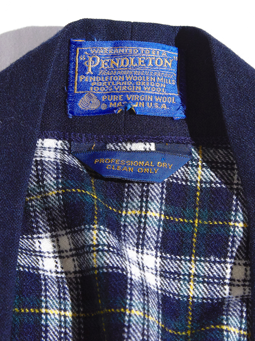 """1970s """"PENDLETON"""" wool check gown -GREEN-"""