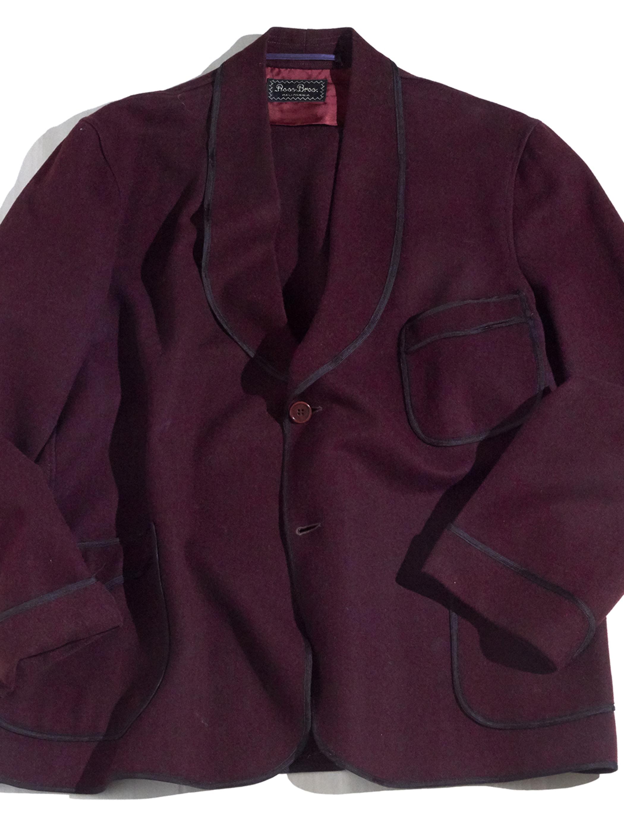 """1940s """"ROOS BROS"""" wool melton smoking jacket -BURGUNDY-"""