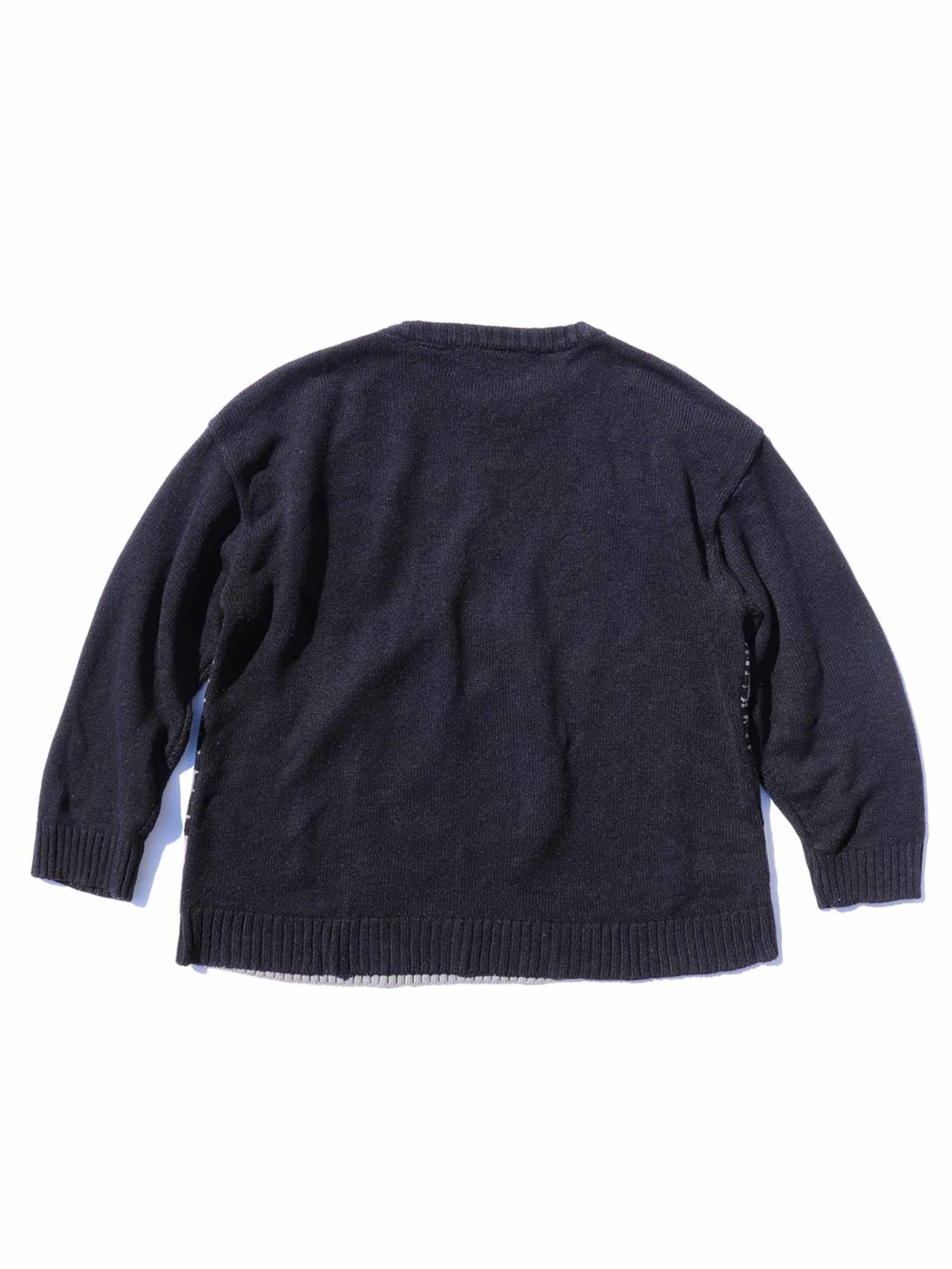 80's~ BEYOND THE LIMIT フェルトパッチ刺繍 ジャガードニット [XL]