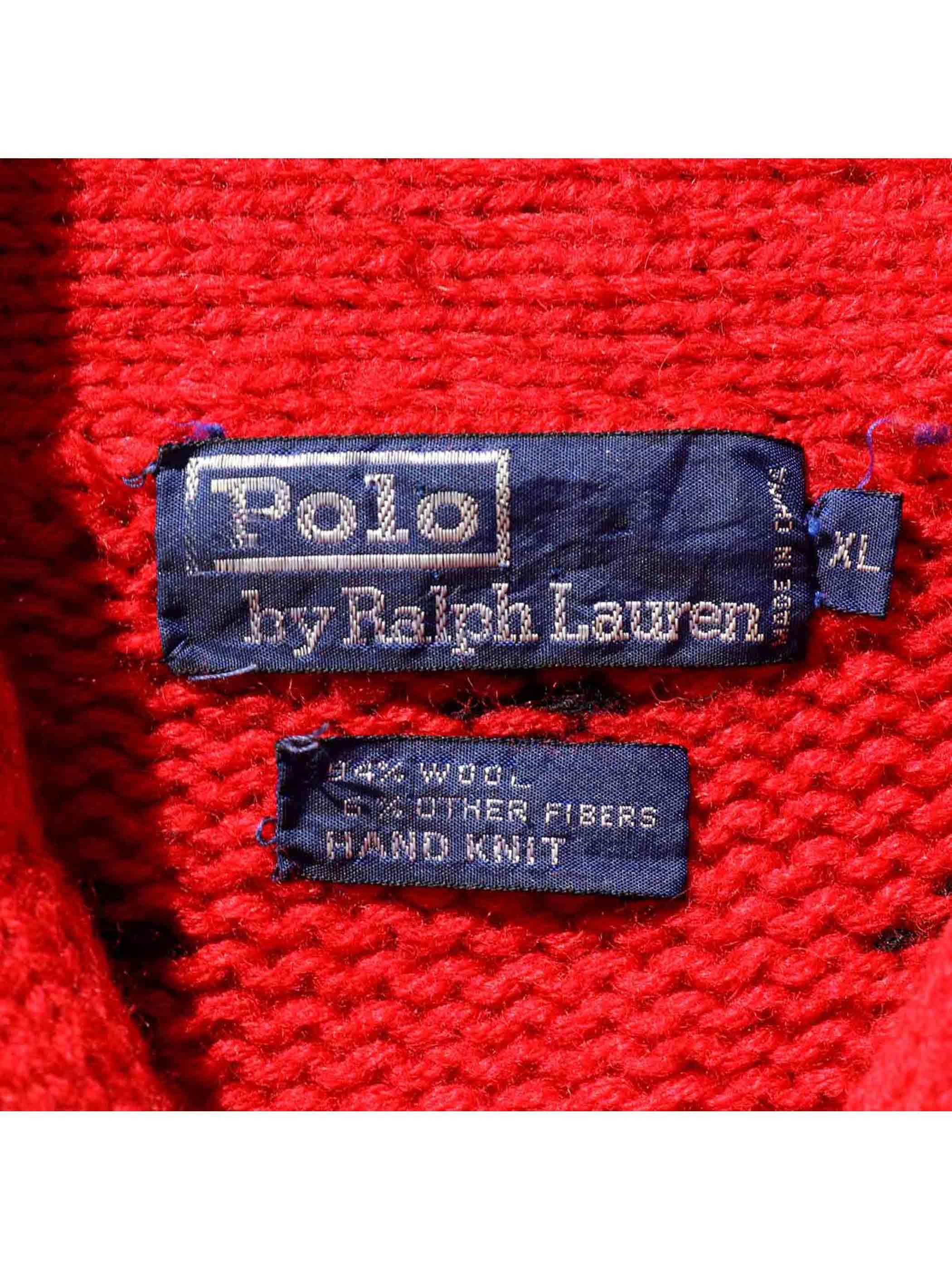 90's POLO RALPH LAUREN ノルディックパターン ショールカラーニット[XL]