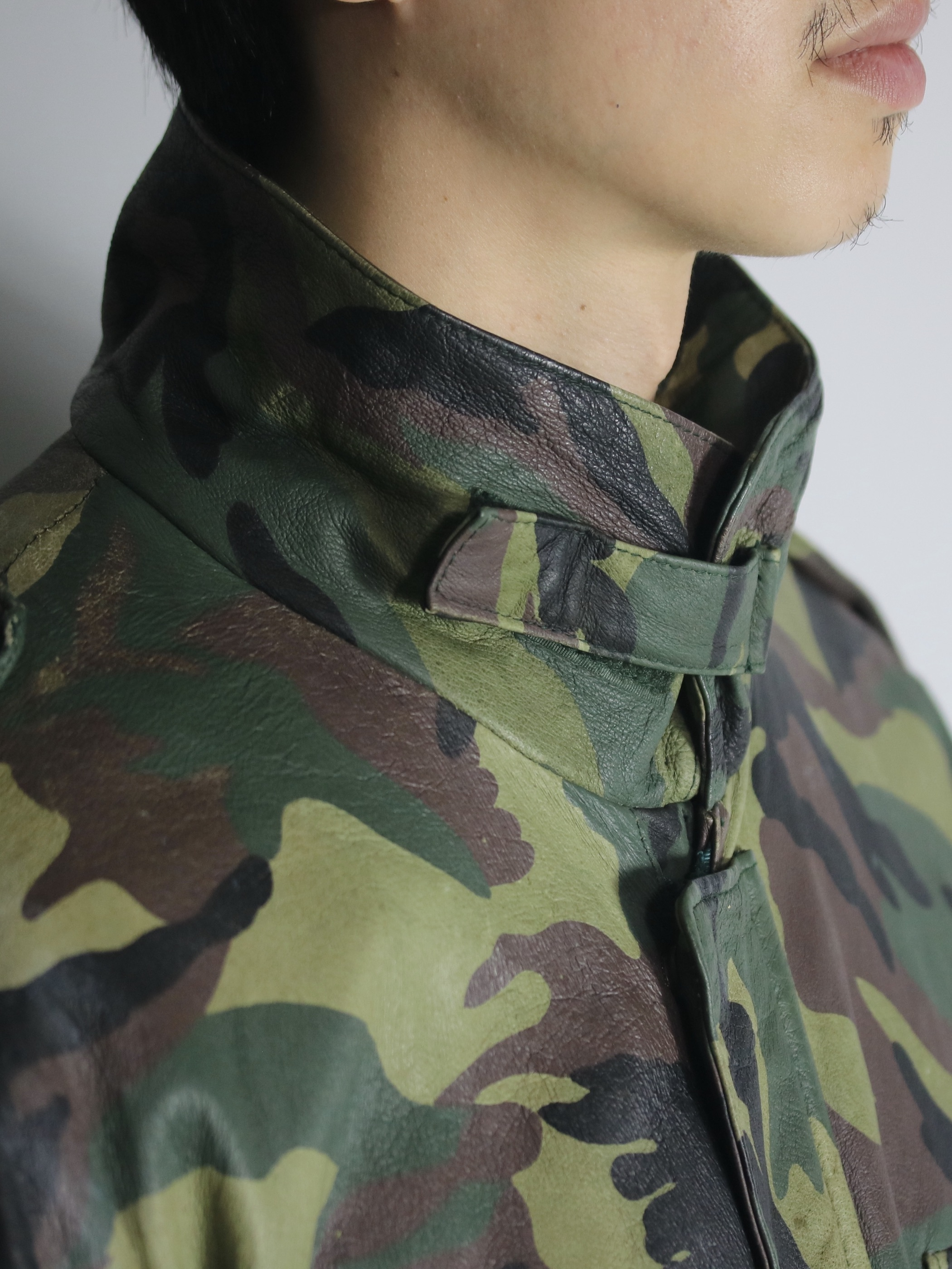 1980~90's Exceed M-65type Wood Land Camouflage Leather Jacket
